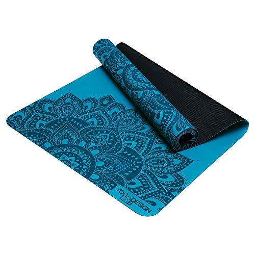 Yoga Design Lab Infinity Yogamatte | Umweltfreundlich, gepolstert und Anti-rutsch, bietet einzigartigen Halt | mit Tragegurt (Mandala Aqua, 3 mm)