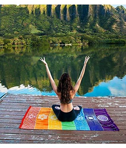 Mandala Tassels 7 Chakra Teppich Gestreift Yogamatte Bohemian Polyester bedruckt Reise Schal Sunblock Strandtuch 150 x 70