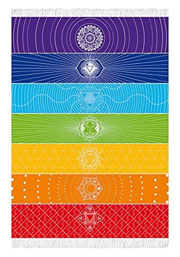 Rainbow 7 Chakra Tapisserie Meditation Yoga Teppich Handtücher Mexiko Chakren Quaste Streifen Bodenmatte Sonnenschutz Schal Weiche Mikrofaser 150 x 76 cm