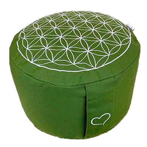 maylow Yoga mit Herz Meditationskissen Blume des Lebens extra hoch H: 25 cm Olive Kordelzug Innenkissen Bio-Dinkelspelzen