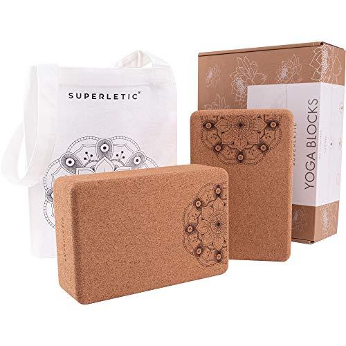 SUPERLETIC® Yoga Block Elite - Yogablock Kork 2er Set I Yogaklotz als Hilfsmittel für Asanas I Yoga Zubehör...