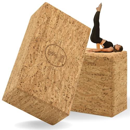 ELLEMA Yoga Block [100% Kork] - Yogablock 2er Set für Anfänger und Fortgeschrittene + Online-Trainingsvideos...