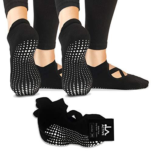 LA Active Yoga Socken - Yoga Pilates Stange Barre Grip Abs Noppen Rutschfeste - Pointe, Schwarz und Schwarz,...