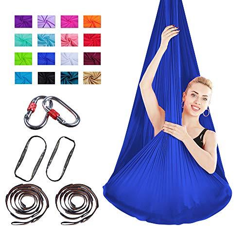 Viktion Authentische 4m*2.8m Anti-Gravity-Yoga Set Aerial Yoga Tuch Hängematte Keine Nähte Aerial Yoga Tuch (Dunkel Blau)