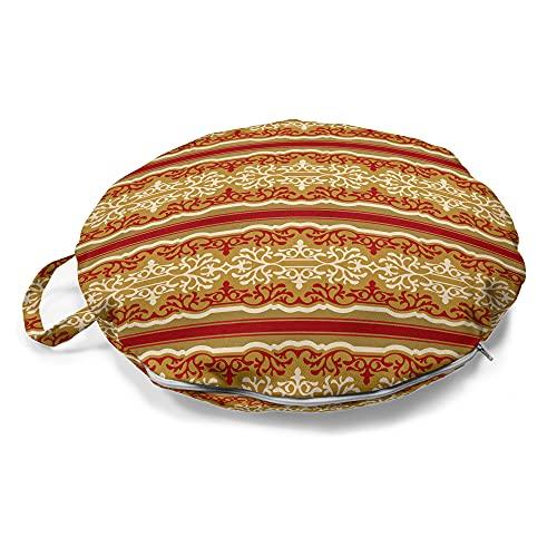ABAKUHAUS Orient Rundes Bodenkissen mit Griff, Naher Osten Swirl Motiv, dekoratives Kissen für Wohnzimmer & Schlafsäle, 45 cm, Rubin Pale Kaffeesahne