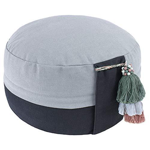 Lotus Design Meditationskissen Yogakissen Bio, Classic Yin-Yang, 15 cm hoch, Bezug 100% Bio-Baumwolle waschbar, Yoga-Sitzkissen mit Bio-Buchweizenschalen, sozial und fair hergestellt