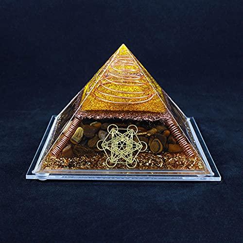 YUXINYAN Meditationszubehör 1. 3cm Handgemachte Tigerauge Pyramiden Kristallkugel Meditation Tower Desktop Home Decoration Pyramide