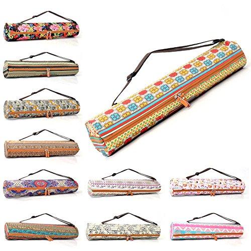 #DoYourYoga Yogatasche Sunita hochwertigem Canvas (Segeltuch) Yogatasche für Yogamatten bis zu Einer Größe von 180 x 60 x 0,5 cm/Braunes Muster