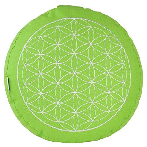 maylow Yogakissen 'Blume des Lebens' 100% Baumwolle Bio-Dinkelspelzen H: 10 cm (apfelgrün / weiß)