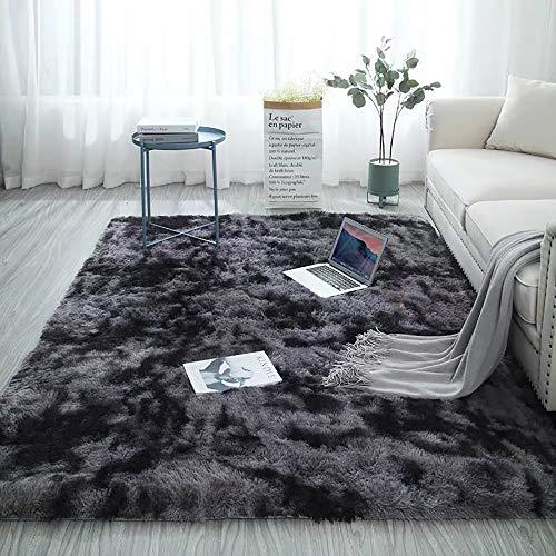 Blivener Soft Touch Area Rug Bedroom Anti-Skid Yoga Carpet Shaggy Rugs Fluffy Motley Tie-dye Carpets Dunkelgrau 160 x 200 cm