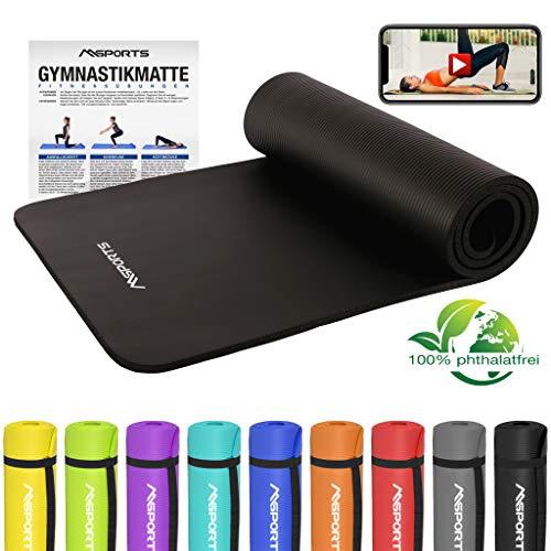 MSPORTS Gymnastikmatte Studio 183 x 61 x 1,0 oder 1,5 cm   inkl. Übungsposter und Tragegurte   Hautfreundliche - Phthalatfreie Fitnessmatte - sehr weich   Yogamatte (Schwarz, 183 x 61 x 1,5 cm)