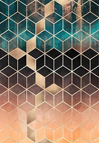 HJFGIRL Moderne Teppiche Wohnzimmer Teppich Dunkelgrün Gold Schwarz Gradienten Raute Gitter Teppich Für Schlafzimmer Tür Wohnzimmer Küche Matte Teppich Yoga Matte (160 * 230 cm),150 * 200cm
