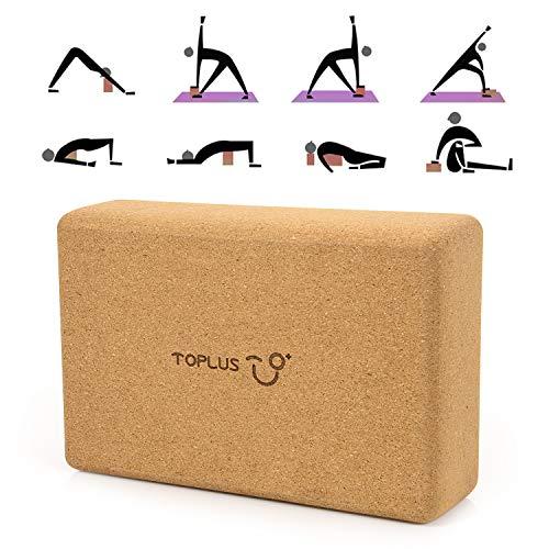 TOPLUS Yoga Block für Anfänger und Fortgeschrittene aus 100% Naturkork,Korkblock Yogablock Kork für...