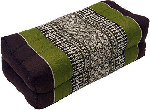 Guru-Shop Meditationskissen, Blockkissen, Eckiges Yoga Stützkissen, Thai Nackenstütze mit Kapok - Braun/grün, 10x20x30 cm, Meditationskissen & Sitzkissen