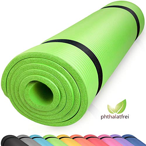 diMio Komfort-Gymnastikmatte Yogamatte in 185x60x1cm, 185x60x1.5cm, 185x90x1.5cm, 200x100x2 mit Tragegurt Phtalatfrei + SGS-geprüft (Lime, 185 x 90 x 1.5 cm (XL))