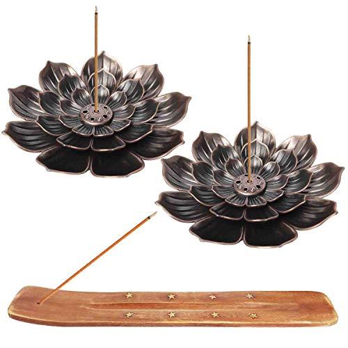 Räucherstäbchen Halter, 2 Stück Messing Lotus Halter, 1 Stück indische Holz Räucherstäbchenhalter mit Sternen für Räucherstäbchen Räucherkegel oder Home Decoration Zubehör