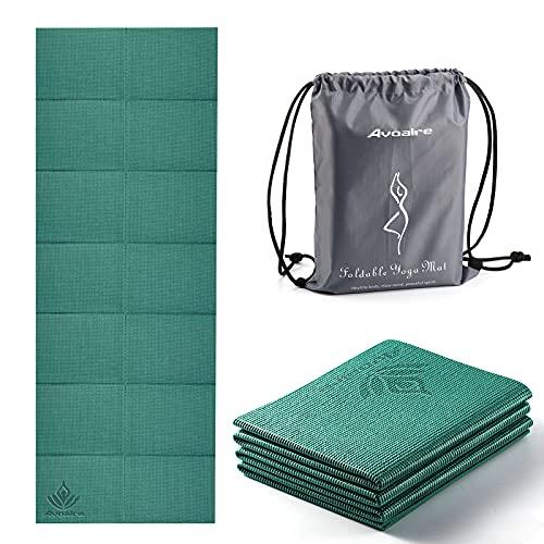 Avoalre Yogamatte rutschfest, 173 x 61CM Faltbare Yogamatte mit Tasche, Tragbare 5MM Pilatesmatte/Gymnastikmatte/Trainingsmatte/Reise Yogamatte ideale für Frau Kinder und Männer - Grün