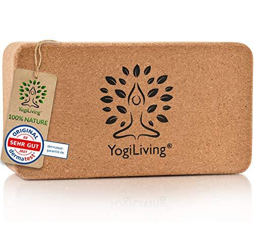 Yogiliving® Yogablock Kork | 100% natürlicher Yoga Block | Yogaklotz aus Naturkork | rutschfest & bis 150kg belastbar | Yoga Zubehör plastikfrei verpackt