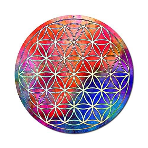 Sonnenfänger' Blume des Lebens'Nr 16.1 ø 15cm · Schutzsymbol · Geschenkidee Dankeschön · Meditationszubehör Yoga Lebensblume · Fensterbild hängend · Fensterschmuck sicheres Acryl-Glas-Bild