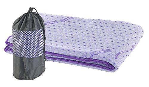 PEARL sports Yogahandtuch: 2in1-Mikrofaser-Yoga-Handtuch & Auflage, saugfähig, rutschfest, lila (Fitness Matte)