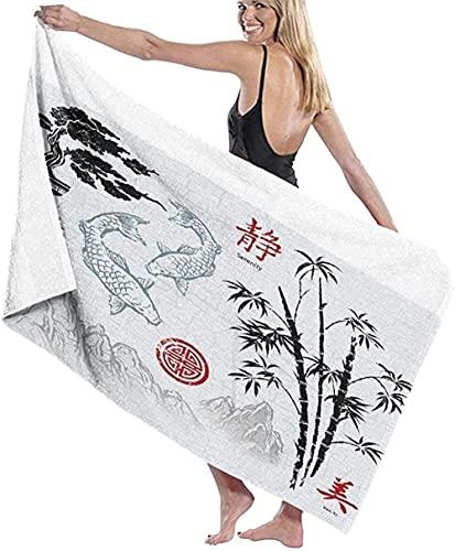 Strandtuch,Red Ese Asian Ink Brush Ornaments Aquarell Chinesisch N Bambus Badelaken Leichtes Strandtuch Perfekt Für Familienhotelreisen Schwimmen Fitness 80 * 130 cm