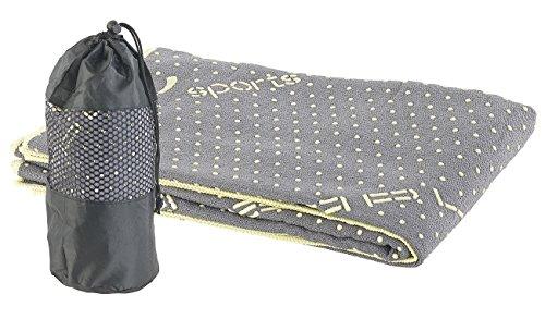 PEARL sports Fitnesstuch: 2in1-Mikrofaser-Yoga-Handtuch & Auflage, saugfähig, rutschfest, grau (Fitness...