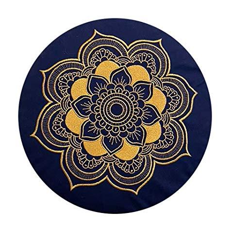 Meditationskissen Yogakissen Celine Madeleine mit Stickerei Bezug waschbar, gefülltes Innenkissen mit Bio-Dinkelspelzen 33 x 15 cm geeignet für Anfänger und Geübte (blau/Gold (Kordelzug))