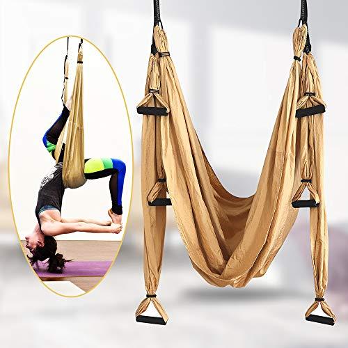 TTLIFE Aerial Yoga Hängematten-Set, einschließlich 4 Karabinerhaken mit glatten Kanten, Antigravitations Yoga Inversion Fitness für Zuhause, Fitnessstudio, Outdoor
