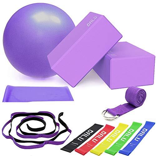 DALV 11 Stücke Yoga Zubehör, Yoga Block(9 × 6 × 4 Zoll) 2er Set mit Yogagurt und 10 Schlaufen Yogibato...