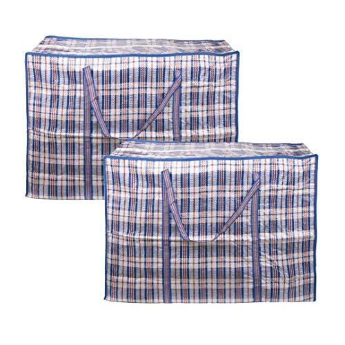 EDATOFLY 2 Stück Kleiderbeutel, Große Jumbo Taschen Einkaufstaschen Aufbewahrungstasche mit Reißverschluß für den Umzug Bettwäsche Kleidung Decken Kissen Quilt (Blau, 60cm*45cm*20cm)