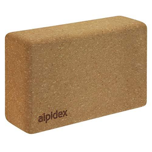 ALPIDEX Yogablock aus Kork 23 x 14 x 7,5 cm einzeln und im 2er Set Korkblock Fitnessblock Yogaklotz, Größe:1...
