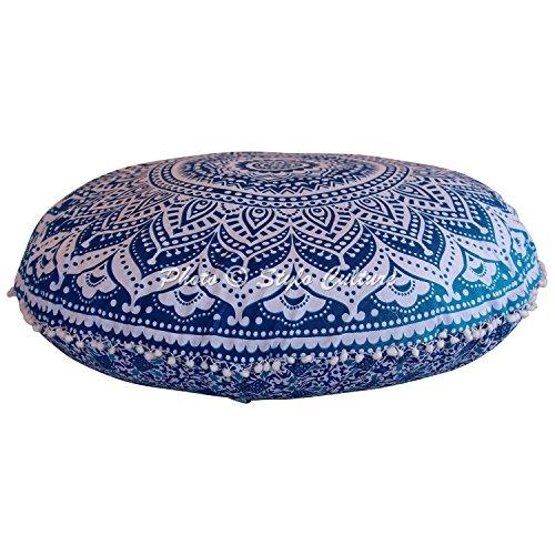 Stylo Culture Indisch Dekorativ Rund Bodensitzkissen 80 x 80 cm Groß Meditationskissen Mandala Blau Boho Pom Pom Spitze Sofa Sitzkissen Baumwolle Ombre Rundkissen Hülle