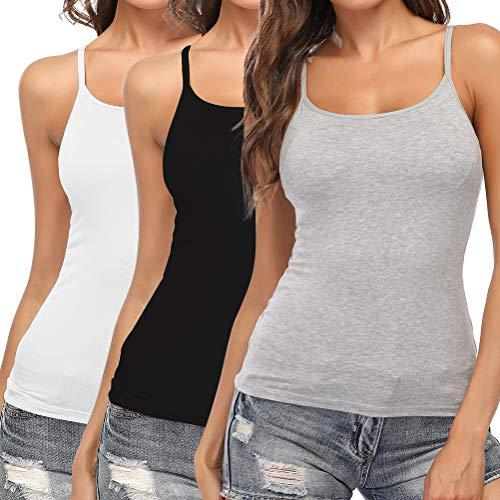 SLIMBELLE Damen BH-Hemd Unterhemd mit Eingebautem Bügellosem BH Verstellbare Spaghettiträger Basic Gepolsterte Tank Tops Rundhals Grau Schwarz Weiß 3er Pack für Cup A-C XXL