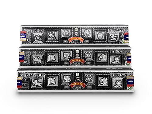 Nag Champa Satya Super Hit Räucherstäbchen 3 Päckchen mit je 15 g Inhalt, gesamt 45 g.…