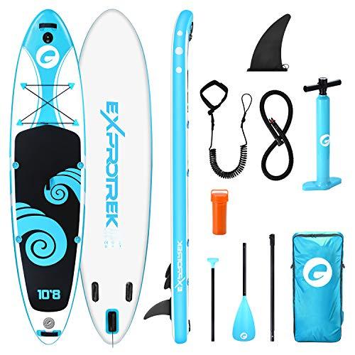 Exprotrek Stand Up Paddling Board, aufblasbares SUP Board, Stand Up Paddle Board Set, 6 Zoll dick für alle...