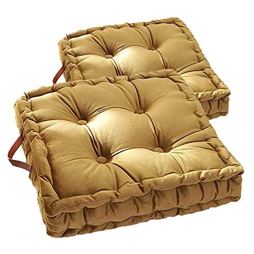 PYTRMHI 2Er-Set Sitzkissen Stuhlkissen 42X42x8cm, Yogakissen Meditationskissen Bequemes Sitzpolster Bodenkissen Dicke Polsterung Mit Griff, Für Indoor Und Outdoor,Ginger