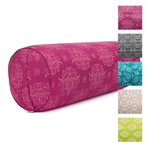 Yoga-Bolster'Lotus', berry, Maharaja Collection, Dinkel-Füllung, Bezug aus 100% Baumwolle (Köper),...