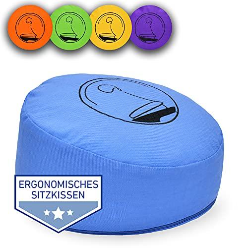 KlarGeist® ॐ ergonomisches Meditationskissen & Yogakissenis, Ergo Hellblau Mittel, 18 cm, indisch
