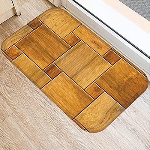 1Pcs Wood Stone Pattern Kitchen Entrance Door Mat Coral Velvet Carpet Rubber Indoor Floor Mats Non-Anti-Slip Rug 40cmx60cm 2DD-48026-005