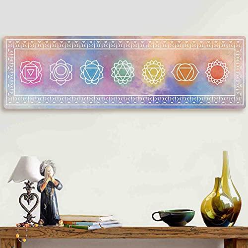 Accnicc Spiritueller Chakra-Tapisserie, Trippy, Meditation, bunt, vertikal, Batik-Wandbehang, lang, Mandala, ästhetischer Wandteppich für Schlafzimmer, Wohnheim, Wohnzimmer (Rosa, 119,6 x 35,6 cm)