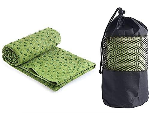 Ivy Yoga Handtuch rutschfest - Mikrofaser Yogatuch schnelltrocknend - Yogahandtuch Antirutsch ideal für Matte,Hot Yoga, 183 x 61 cm, Grün
