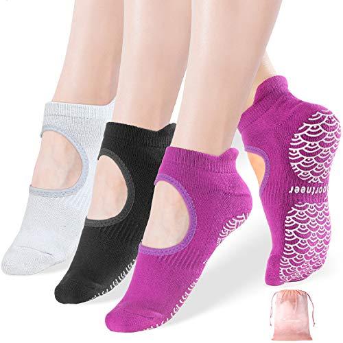 Yoga Socken, 3 Paare Yoga Pilates Sock für Frauen rutschfeste Socken mit Griffen, Anti-Rutsch für Pilates,...