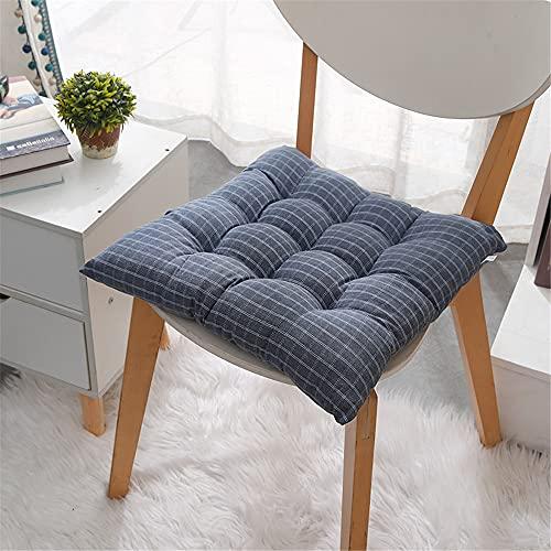Morbuy Platz Stuhlkissen, Baumwolle Leinen Dicke Polsterung Sitzkissen für Gartenstuhl Bequeme Atmungsaktiv Indoor Outdoor Stuhlauflage (35 * 35cm,Blau)