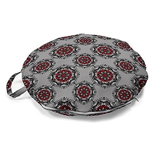 ABAKUHAUS Rot und Schwarz Rundes Bodenkissen mit Griff, Marokkanische Blume Rose, dekoratives Kissen für Wohnzimmer & Schlafsäle, 45 cm, Pale Grauburgunder
