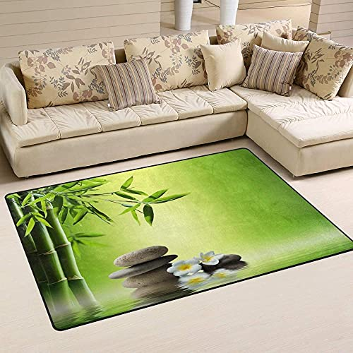 HJKGSX Teppich Bambus Zen-Muster Flanell rutschfest Weicher Kurzflor Teppich modern für Wohnzimmer, Schlafzimmer, Kinderzimmer und Arbeitszimmer 160 x 230 cm