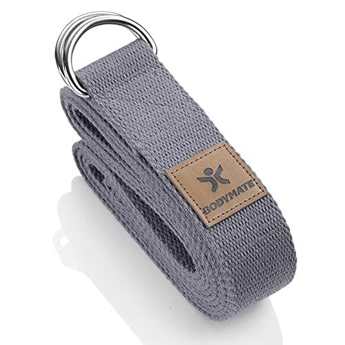BODYMATE Yogagurt mit Verschluss aus Metall, Yoga-Band für Anfänger und Fortgeschrittene, Yoga-Schlaufe aus...