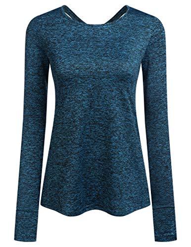 ADOME Damen T-Shirt Schnell Trocken Fitness Yoga Top Sportshirt Funktions Shirts Langarmshirt Running Top...