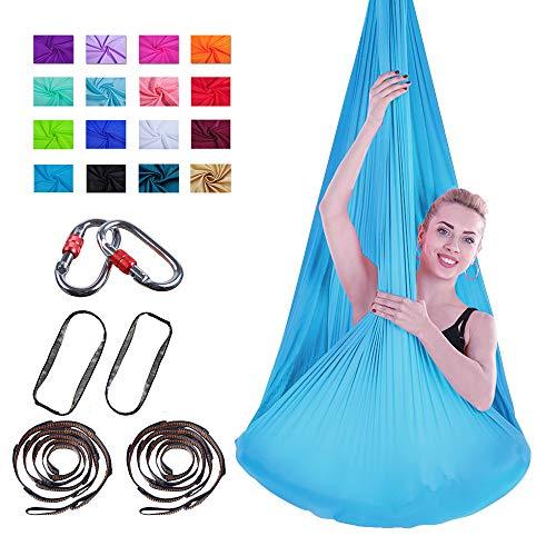 Viktion 4m*2.8m Aerial Yoga Hängematte Set Aerial Yoga Tuch Hängematte Yoga Pilates Hammock mit Bedienungsanleitung (Blau)
