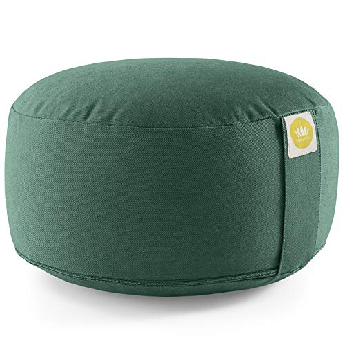 Lotuscrafts Yogakissen Meditationskissen Rund Lotus - komfortable & entspannte Mediation - Sitzhöhe 15cm - waschbarer Bezug aus Baumwolle - Yoga Sitzkissen mit Dinkelfüllung - GOTS Zertifiziert