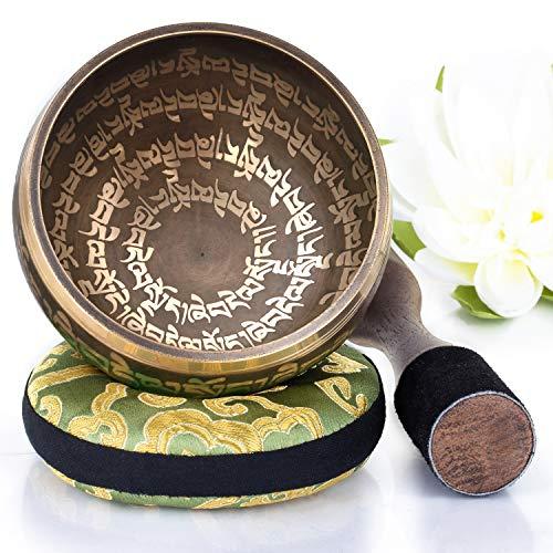 Silent Mind tibetische Klangschale Set ~ Peace Mantra Design ~ mit hochwertigem Holz Klöppel und Himalaya...